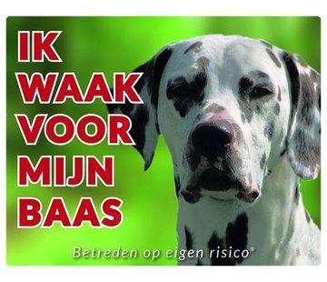 Stickerkoning Dalmatier Waakbord - Ik waak voor mijn baas