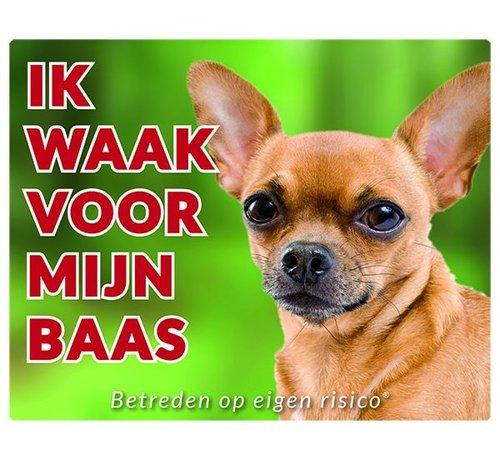 Stickerkoning Chihuahua Waakbord - Ik waak voor mijn Korthaar