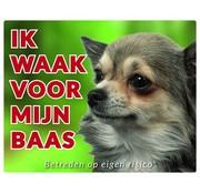 Stickerkoning Chihuahua Waakbord - Ik waak voor mijn Langhaar