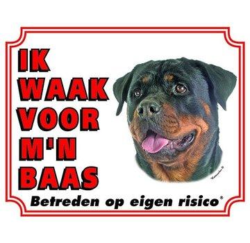 Stickerkoning Rottweiler Waakbord - Ik waak voor mijn baas
