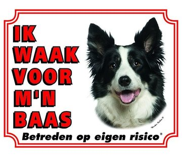 Stickerkoning Border Collie Regarder Board - Je regarde mon patron