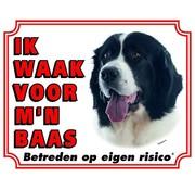 Stickerkoning Landseer Waakbord - Ik waak voor mijn baas