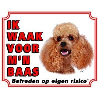 Stickerkoning Poedel Waakbord - Ik waak voor mijn baas Abrikoos
