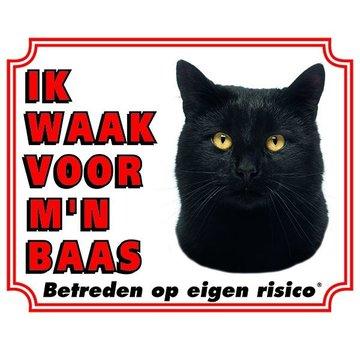 Stickerkoning Katten Waakbord - Ik waak voor mijn baas Zwart