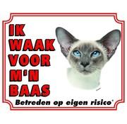 Stickerkoning Siamees Waakbord - Ik waak voor mijn baas