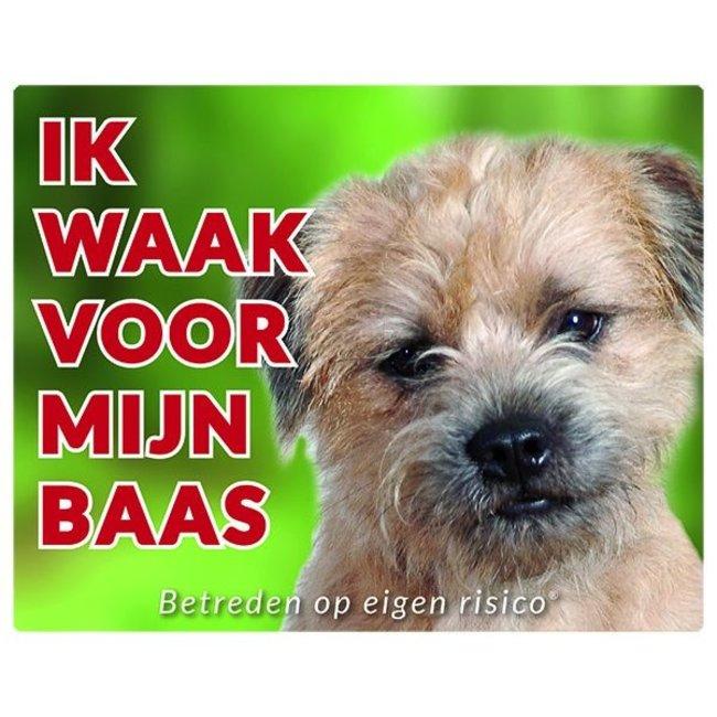 Stickerkoning Border Terrier Waakbord - Ik waak voor mijn baas
