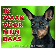 Stickerkoning Miniature Pinscher Wake board - I watch for Black
