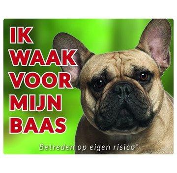 Stickerkoning Französisch Bulldog Wake board - Ich beobachte mein Chef Fawn