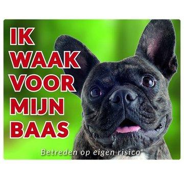 Stickerkoning Französisch Bulldog Wake board - Ich beobachte meine Brindle