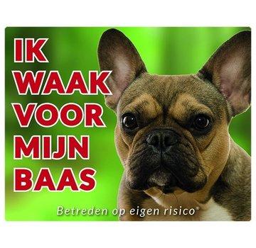 Stickerkoning Französisch Bulldog Wake board - Ich beobachte meine Brown
