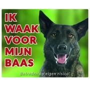 Stickerkoning Hollandse Herder Waakbord - Ik waak voor mijn baas
