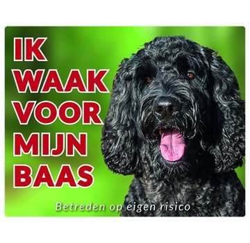 Stickerkoning Labradoodle Wake board - I watch my boss black