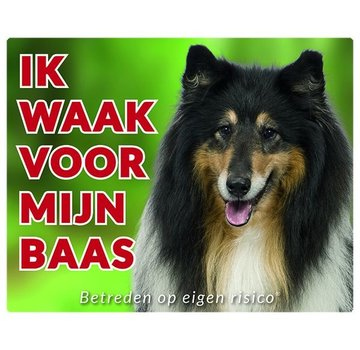 Stickerkoning Scottish Shepherd / Collie Wake board - Ich beobachte Schwarz