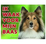 Stickerkoning Shetland Sheepdog Waakbord - Ik waak voor Bruin