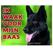 Stickerkoning Duitse Herder Zwart Waakbord - Ik waak voor mijn baas