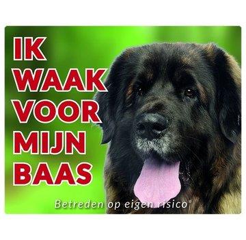 Stickerkoning Leonberger Waakbord - Ik waak voor mijn baas