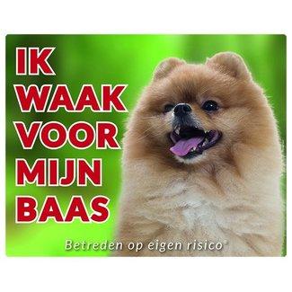 Stickerkoning Pomeranian Waakbord - Ik waak voor mijn baas