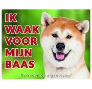 Stickerkoning Akita Waakbord - Ik waak voor mijn baas Blond