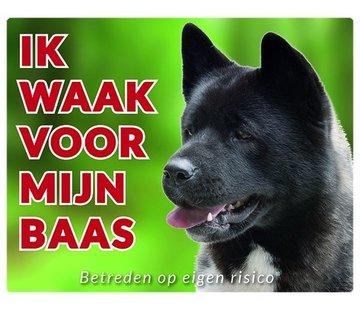 Stickerkoning Akita Waakbord - Ik waak voor mijn baas Zwart