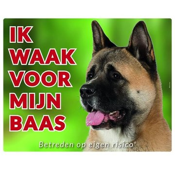 Stickerkoning Akita Watch Panel - I watch my boss Brown