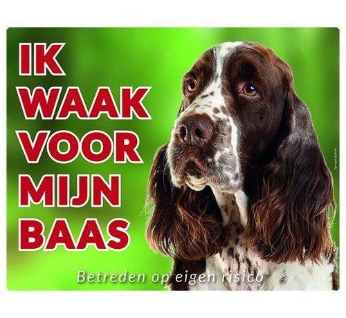 Stickerkoning Engelse Springer Spaniel Waakbord - Ik waak voor mijn