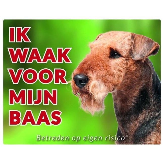 Stickerkoning Airedale Terrier Waakbord - Ik waak voor mijn baas