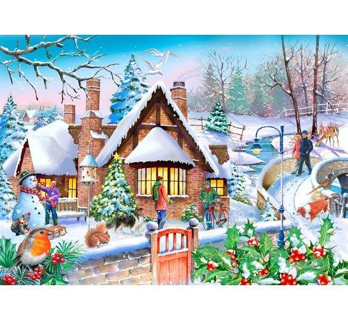 The House of Puzzles Snowy Cottage Puzzel 250 XL stukjes