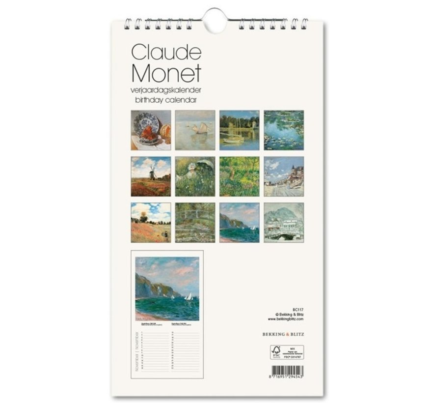 Claude Monet Water Lilies Birthday Calendar