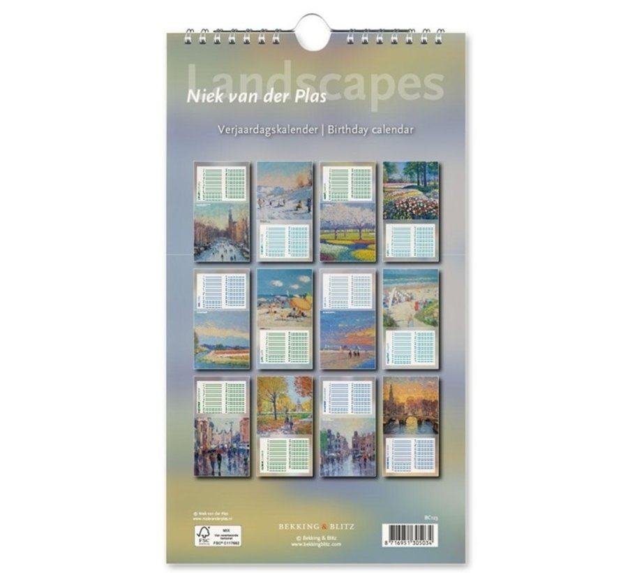 Landscapes Birthday Calendar