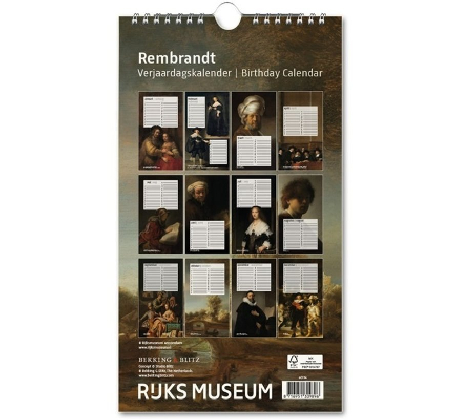 Rembrandt, Rijksmuseum Amsterdam Birthday Calendar