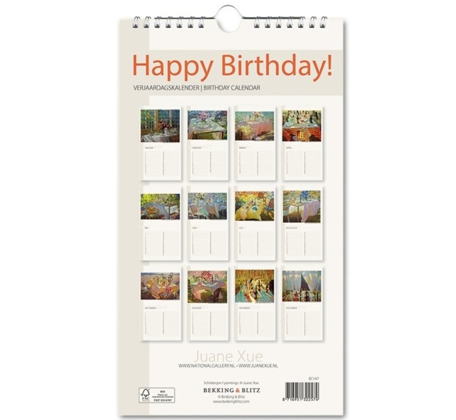 Juane Xue Happy Birthday Verjaardagskalender