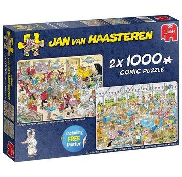 Jumbo Jan van Haasteren - Mangez et Bakfestijn 2x 1000 Puzzle Pieces