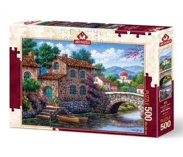 Art Puzzle Canal With Flowers Puzzel 500 Stukjes