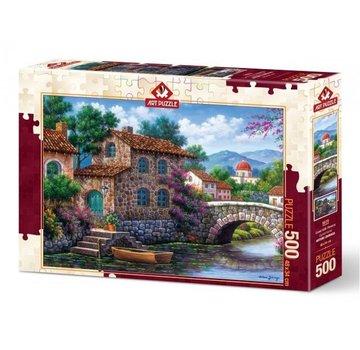 Art Puzzle Canal Avec Fleurs Puzzle 500 Pièces