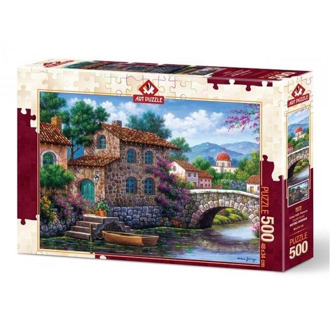 Art Puzzle Canal Mit Blumen Puzzle 500 Stück