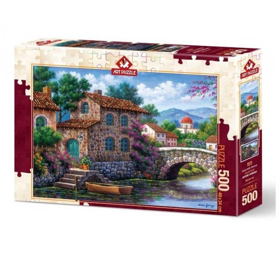 Canal With Flowers Puzzel 500 Stukjes