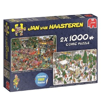 Jumbo Jan van Haasteren – Kerstcadeautjes Puzzel 2x 1000 Stukjes