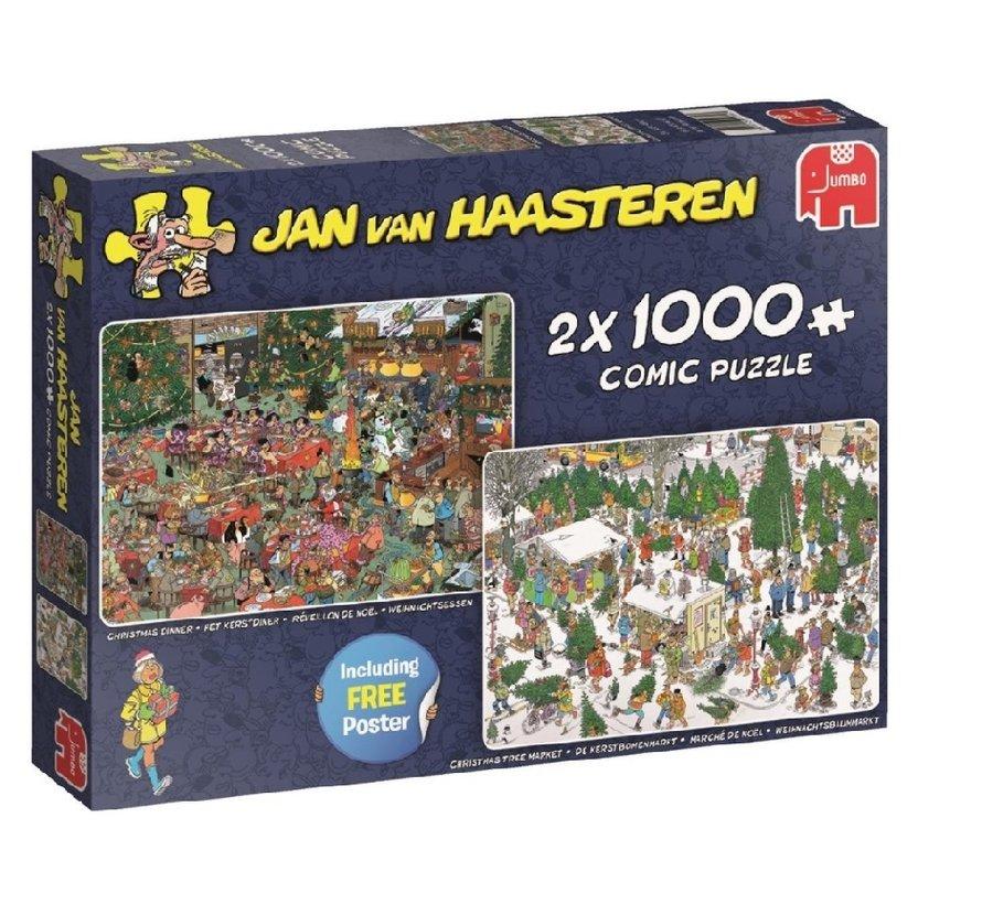 Jan van Haasteren – Kerstcadeautjes Puzzel 2x 1000 Stukjes