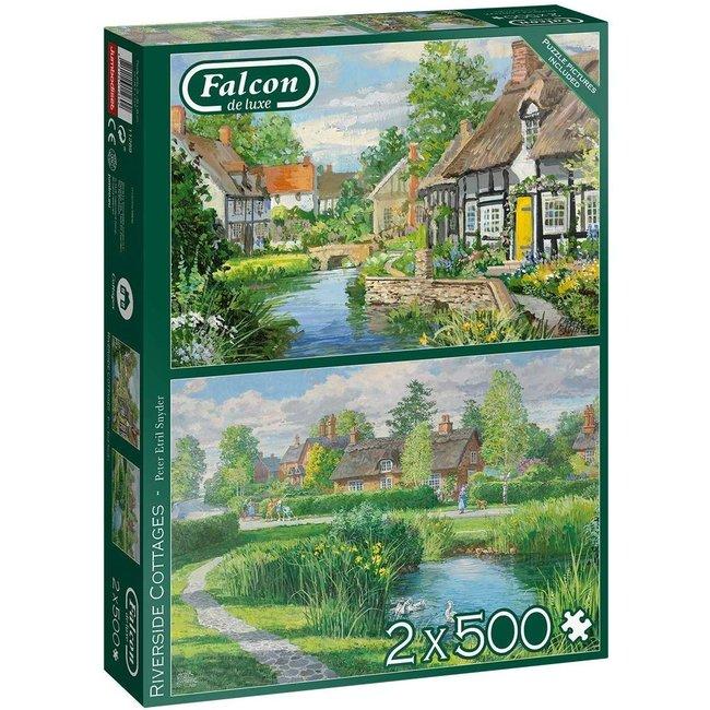 Falcon Riverside Cottages Puzzel 2x 500 Stukjes
