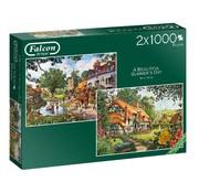 Falcon Le Woodland Cottage 2x 1000 Puzzle Pieces