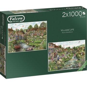 Falcon Village Life Puzzel 2x 1000 Stukjes