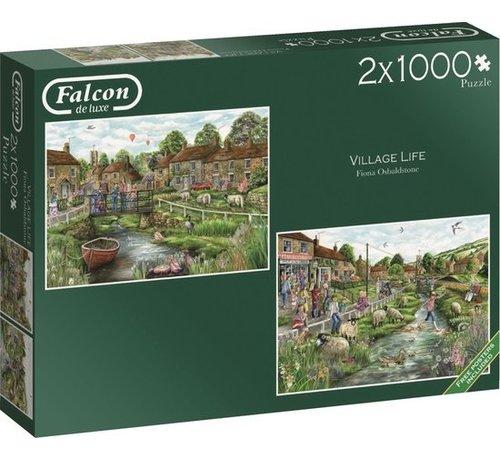 Falcon Village Life Puzzle 2x 1000 Piece Jigsaw Puzzle