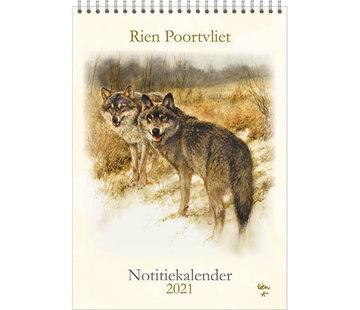 Comello Rien Poortvliet Monthly Calendar 2021 Note Wolves