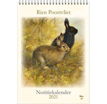 Comello Rien Poortvliet Monthly Notes Calendar 2021 Rabbits