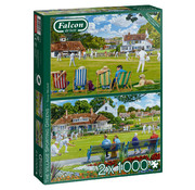 Falcon The Village Sporting Greens Puzzle 2x 1000 Piece Jigsaw Puzzle