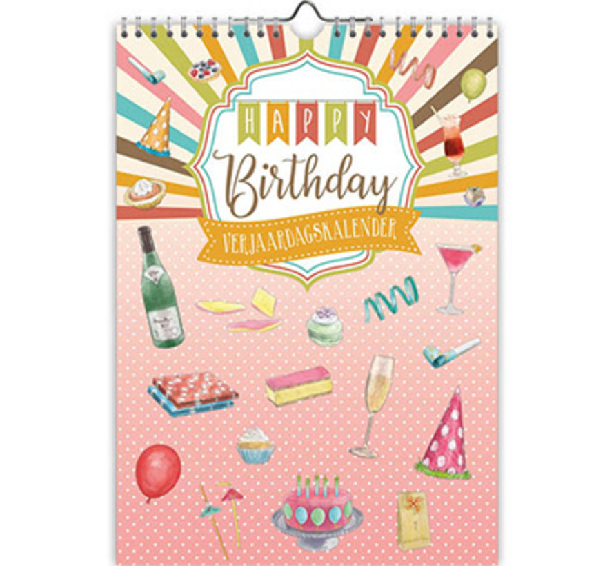 Happy Birthday Verjaardagskalender A4