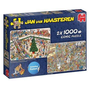Jumbo Jan van Haasteren - achats de Noël 2x 1000 Pièces Puzzle