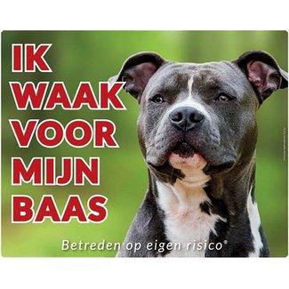 Stickerkoning American Staffordshire Terrier Wake board - I watch my boss