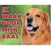 Stickerkoning Hovawart Waakbord Blond - Ik waak voor mijn Baas