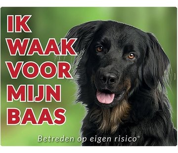 Stickerkoning Hovawart Waakbord - Ik waak voor mijn Baas